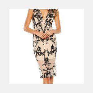 Embroidery nude and black midi dress. Women's 8